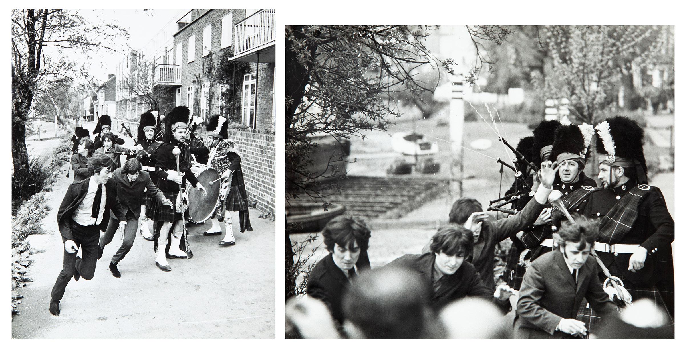 Pareja de fotografías de THE BEATLES. Papel fotográfico. Con sellos ...