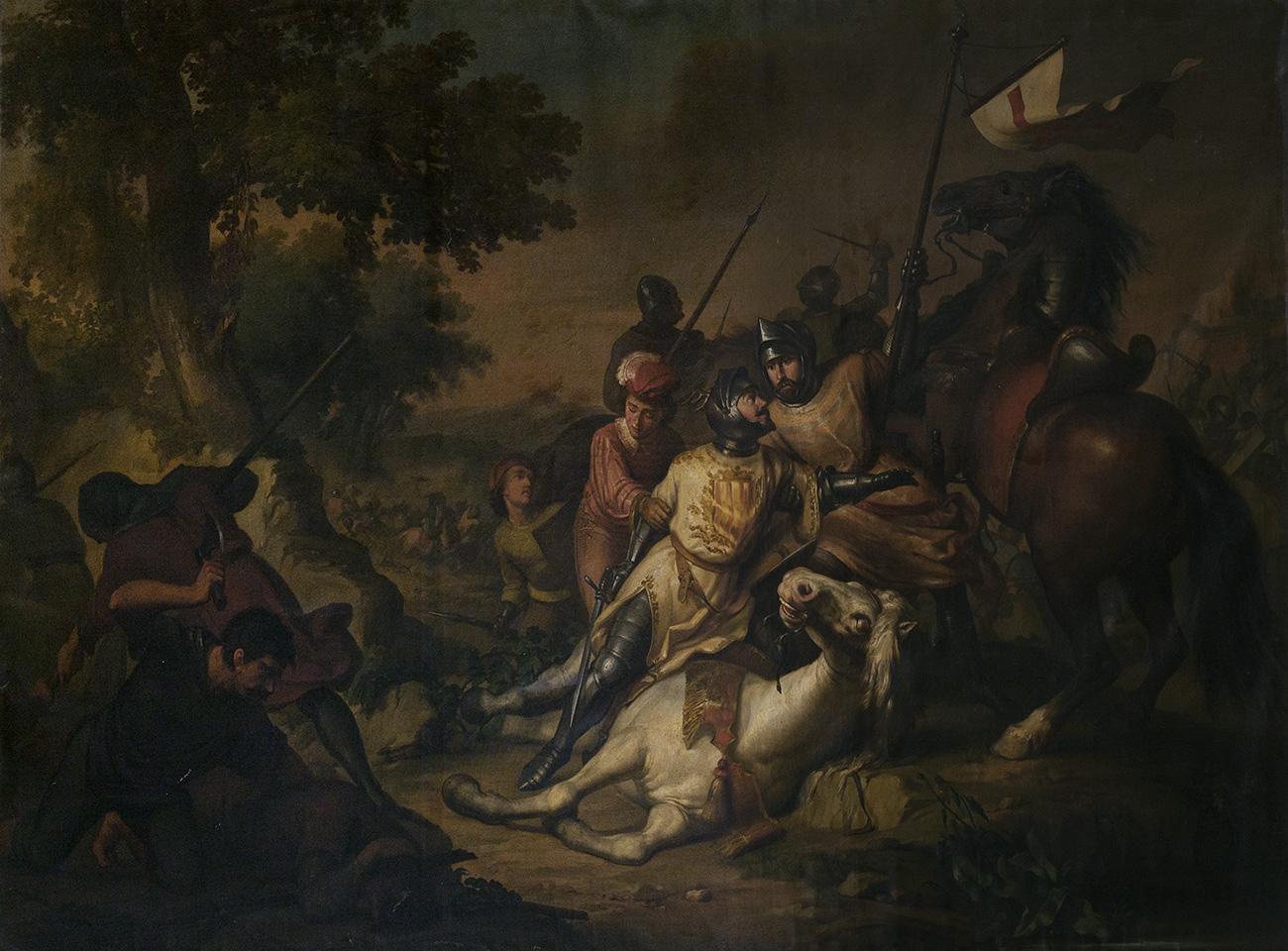 """""""Dalmau II, vizconde de Rocabertí, ofreciendo su montura a su jefe"""" RICARDO ANKERMANN RIERA"""