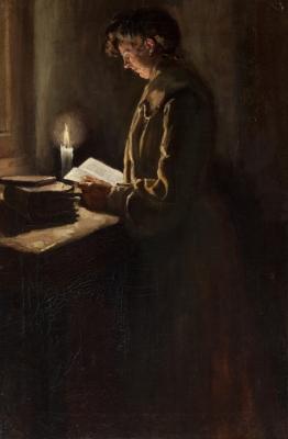 """""""Mujer leyendo"""" Escuela catalana, último cuarto del siglo XIX."""