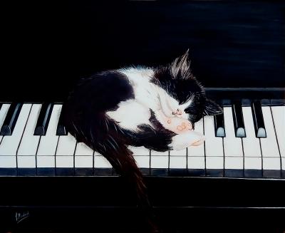 """JOSE MARIA MADRID SANZ (Madrid, 1957)""""El sueño del pianista"""". Óleo sobre lienzo."""