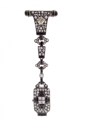 Reloj chatelain art-decò en plata de ley y ónix negro,