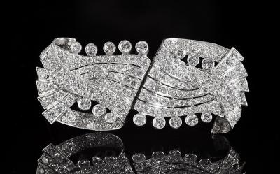 Broche doble clip, años 50-60  En platino