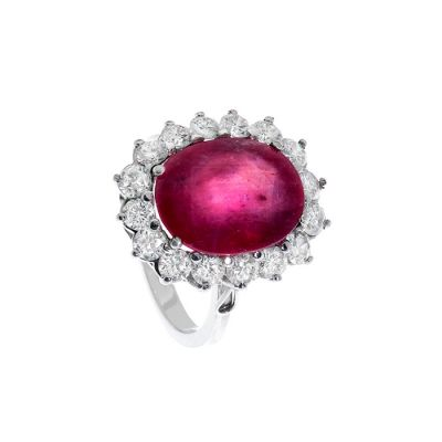 18k white gold ring Classic rosette model with natural ruby, oval size, translucent intense carmine red color, ca. 6.