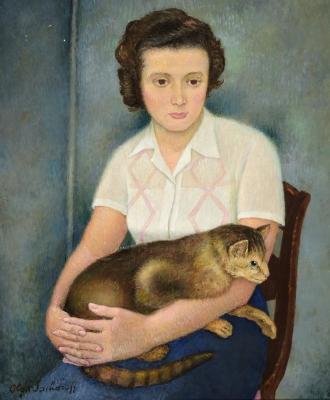 """""""Mujer con gato"""". SACHAROFF, Olga"""