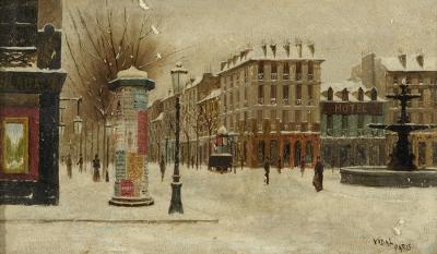 """""""París nevado"""". VIDAL I VIDAL, Josep"""