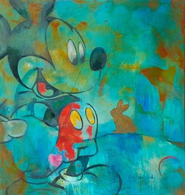 """""""Graffity en pared azul y Michey"""" Miguel Ángel García Lopez"""