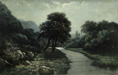 "BENAVENT ROCAMORA, Cayetano (Reus, Tarragona, 1834 – Barcelona, 1910).""Paisaje""."
