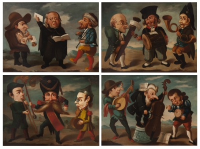 Escuela Inglesa siglo XIX. Conjunto de 4 pinturas.