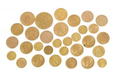 Gran colección de monedas europeas y americanas, siglos XIX y XX.