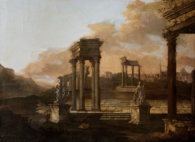 """Ruinas"". Escuela italiana del siglo XVIII."