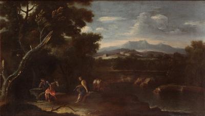 """""""Paisaje con pastores y animales"""" Escuela italiana del siglo XVII."""