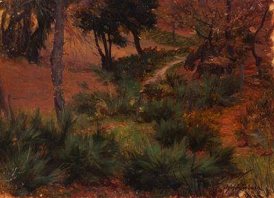 """AURELIO TOLOSA Y ALSINA (Barcelona, 1861 – 1938). """"Paisaje""""  Óleo sobre cartón."""