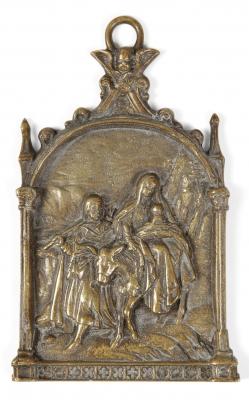 Portapaz con la Huida a Egipto, siglo XVIII. Bronce