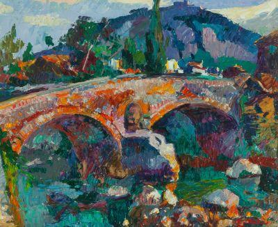 """RAMÓN NADAL HORRACH (Palma de Mallorca, 1913 - 1999). """"Paisaje con puente"""", 1976."""