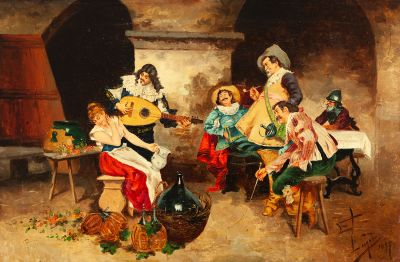 """Tipos festejando"", 1897. JOAQUÍN LUQUE ROSELLÓ"
