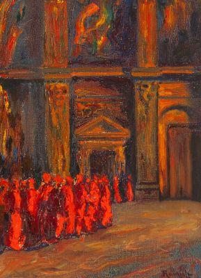 """NICOLÁS RAURICH Y PETRE (Barcelona, 1871 – 1945). """"Acudiendo al concilio""""."""