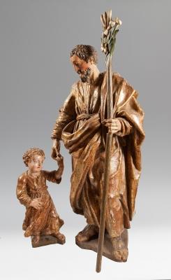 """""""San José con el Niño"""" Escuela española del siglo XVII."""