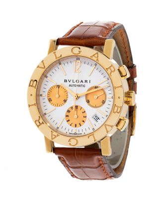 BVLGARI Diagono B1338GLCH-L 5662 watch, for men / Unisex.18k yellow gold case White circular dial with applied dashed numbering combined with Arabic for its 12h.