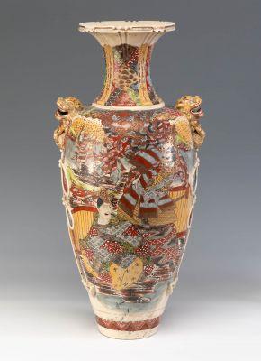 Gran jarrón de estilo Satsuma. Japón, siglo XIX.
