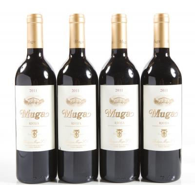 Cuatro botellas de Muga 2011.Categoría: vino tinto.