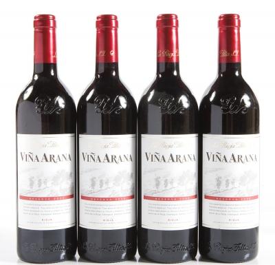 Cuatro botellas de La Rioja Alta Viña Arana Reserva 2006.