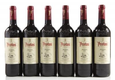 Seis botellas de Protos Reserva 2010.