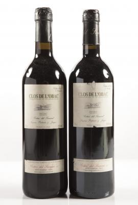 Dos botellas de Clos de l'Obac 2002.