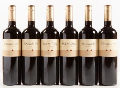 Seis botellas de Solagüen Crianza 2011.