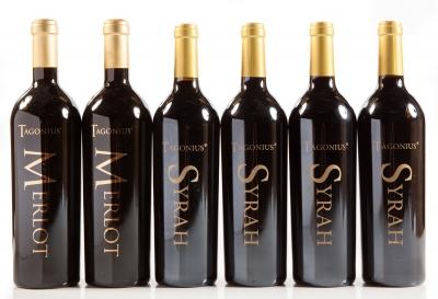 Seis botellas de Tagonius, Syrah 2008 (4) y Merlot (2).
