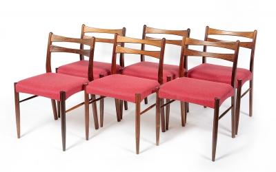 Conjunto de seis sillas de diseño danés, años 60.