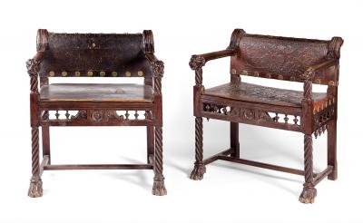 Pareja de sillones de estilo neo-renacentista, hacia 1880.