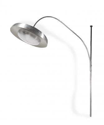 Lámpara de diseño italiano, años 70. Metal cromado