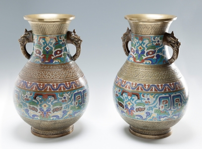 Pareja de jarrones japoneses. Siglo XIX.