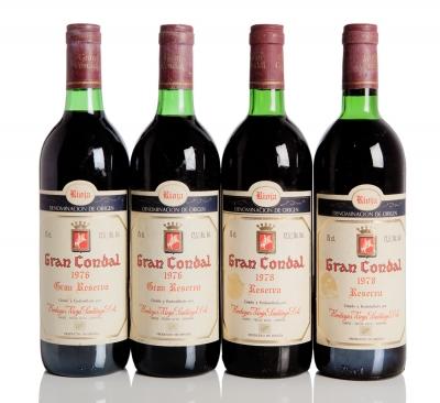 Cuatro botellas de Rioja Santiago Gran Condal, Gran Res