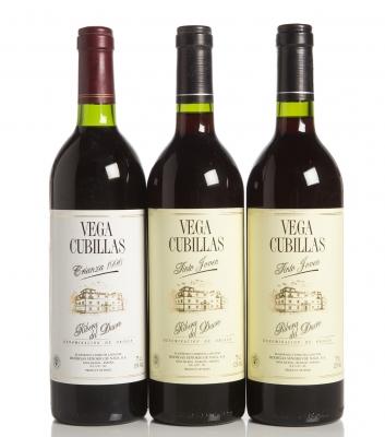 Tres botellas de Vega Cubillas Tinto Joven, crianza 199