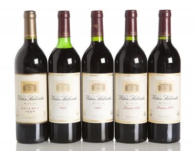 Cinco botellas de Viña Salceda, Crianza 1991 (2), Reser
