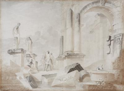 """""""Personajes entre las ruinas"""" Escuela italiana, hacia 1700."""