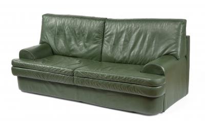 Sofá de diseño, años 80-90. Tapicería en piel