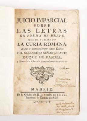 """""""Juicio imparcial sobre las letras"""".Madrid: D."""