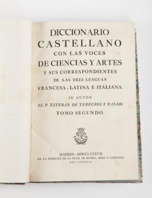 """""""Diccionario castellano con las voces de las ciencias y"""