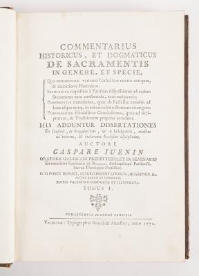"""""""Commentarius"""", tomo I. JUÉNIN, Gaspard"""