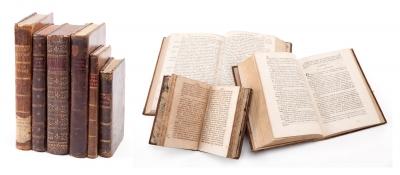 Seis libros de medicina del siglo XVIII. Medidas: entre 15 x 10