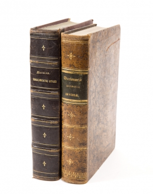Dos libros del siglo XIX. Medidas: 28 x 19,5 cmLote