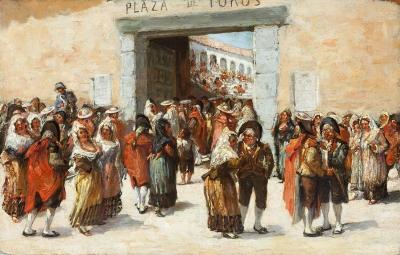 """""""Plaza de toros"""" Escuela española, segunda mitad del siglo XIX."""