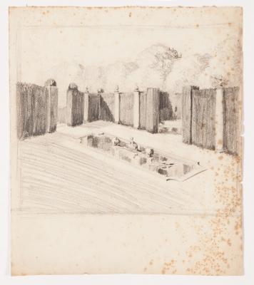 """""""Boceto de jardín con estanque"""" Santiago Rusiñol i Prats"""