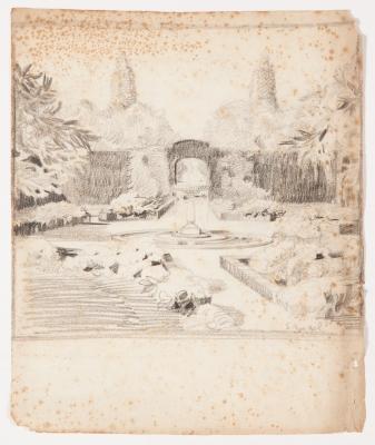 """""""Boceto de jardín con fuente"""" Santiago Rusiñol i Prats"""