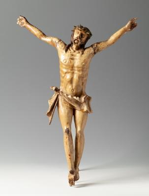 Cristo colonial del siglo XVII. Madera tallada.