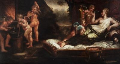 """Escuela italiana, segunda mitad del siglo XVIII. """"Venus y amorcillos""""."""