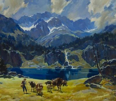"""Paisaje de montaña con vacas"". SERRASANTA, Josep"