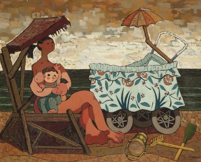 """JUAN GUILLERMO RODRÍGUEZ BÁEZ (Las Palmas de Gran Canaria, 1916 – Madrid, 1968).""""Maternidad en la playa""""."""
